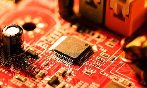 A CPU chip on a printed circuit board.